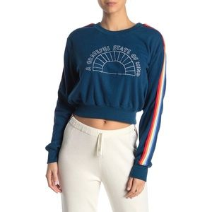 Spiritual Gangster Royal Blue Crop Sweatshirt Small